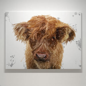 """Peeps"" The Highland Calf Canvas Print"