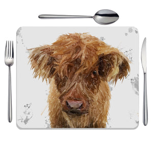 """Peeps"" The Highland Calf Placemat - Andy Thomas Artworks"