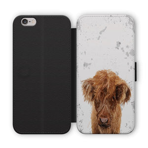 """Peeps"" The Highland Calf Flip Phone Case - Andy Thomas Artworks"