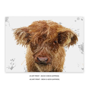 """Peeps"" The Highland Calf A1 Unframed Art Print - Andy Thomas Artworks"