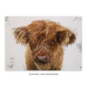 """Peeps"" The Highland Calf A3 Unframed Art Print - Andy Thomas Artworks"