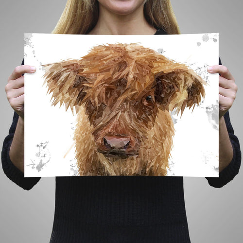 """Peeps"" The Highland Calf A1 Unframed Art Print"