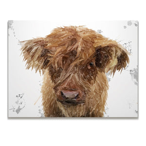 """Peeps"" The Highland Calf Skinny Canvas Print"