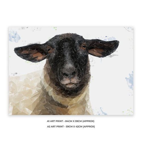 """The Suffolk"" Suffolk Sheep A2 Unframed Art Print"