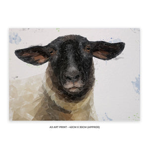 """The Suffolk"" Suffolk Sheep A3 Unframed Art Print - Andy Thomas Artworks"