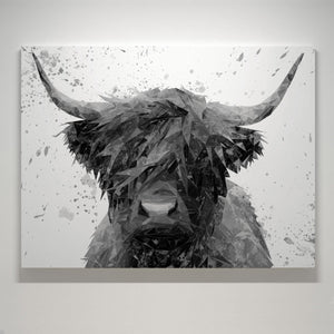 """The Highland"" (B&W) Small Canvas Print"