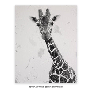 """George"" The Giraffe (B&W) 10"" x 8"" Unframed Art Print - Andy Thomas Artworks"