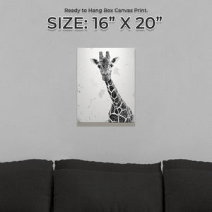 """George"" The Giraffe (B&W) Small Canvas Print - Andy Thomas Artworks"