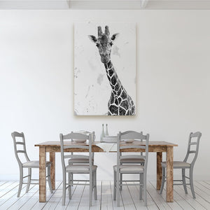 """George"" The Giraffe (B&W) Canvas Print - Andy Thomas Artworks"