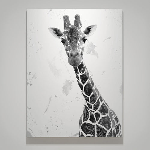 """George"" The Giraffe (B&W) Small Canvas Print"