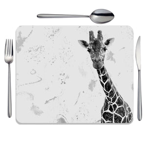 """George"" The Giraffe (B&W) Placemat - Andy Thomas Artworks"