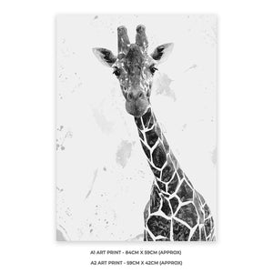 """George"" The Giraffe (B&W) A2 Unframed Art Print - Andy Thomas Artworks"