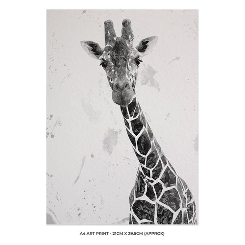 """George"" The Giraffe (B&W) A4 Unframed Art Print"