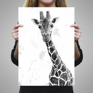 """George"" The Giraffe (B&W) A1 Unframed Art Print - Andy Thomas Artworks"