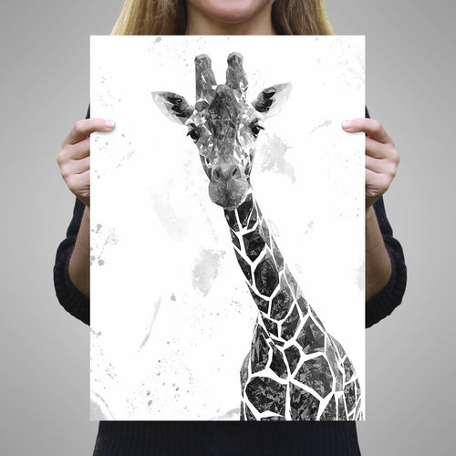 """George"" The Giraffe (B&W) A1 Unframed Art Print"