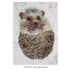"""Milton"" The Hedgehog A3 Unframed Art Print"