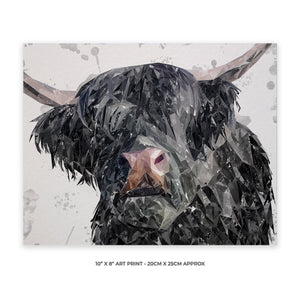 """Bruce"" The Highland Bull 10"" x 8"" Unframed Art Print - Andy Thomas Artworks"