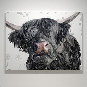 """Bruce"" The Highland Bull Small Canvas Print - Andy Thomas Artworks"