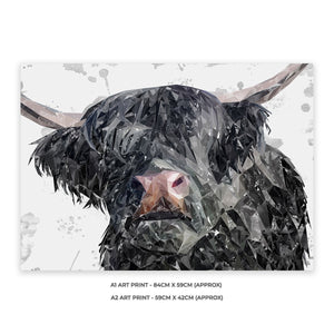 """Bruce"" The Highland Bull A1 Unframed Art Print - Andy Thomas Artworks"