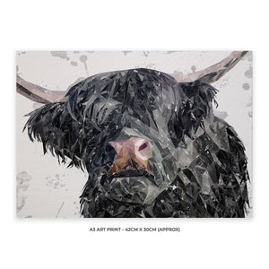 """Bruce"" The Highland Bull A3 Unframed Art Print - Andy Thomas Artworks"