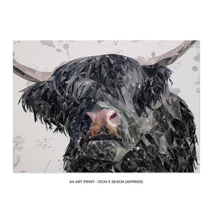 """Bruce"" The Highland Bull A4 Unframed Art Print - Andy Thomas Artworks"