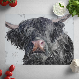 """Bruce"" The Highland Bull Glass Worktop Saver"
