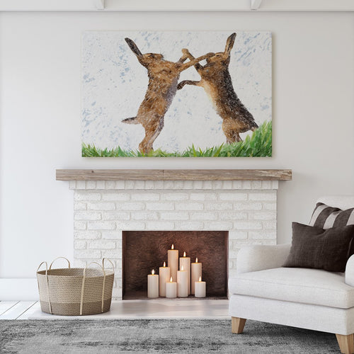 """The Standoff"" Fighting Hares Massive Canvas Print"