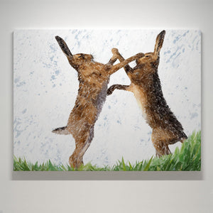 """The Standoff"" Fighting Hares Small Canvas Print - Andy Thomas Artworks"