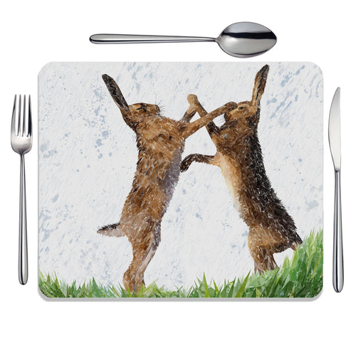 """The Standoff"" Fighting Hares Placemat"