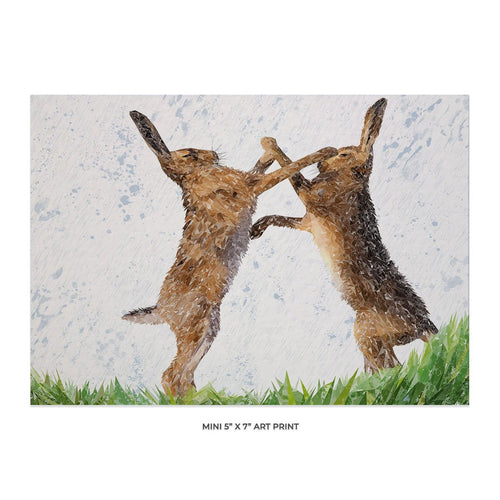 """The Standoff"" Fighting Hares 5x7 Mini Print"