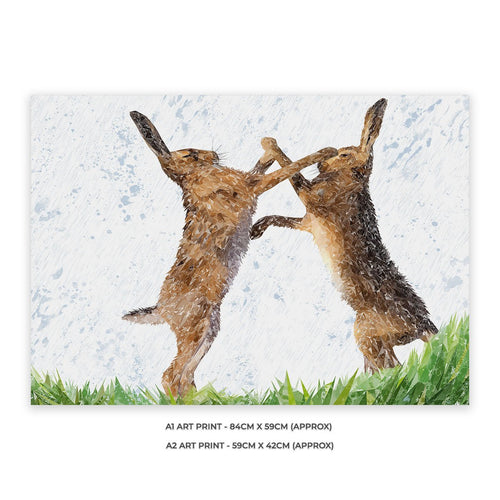 """The Standoff"" Fighting Hares A1 Unframed Art Print"