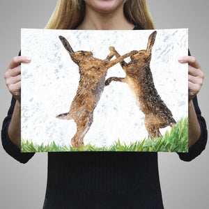 """The Standoff"" Fighting Hares A3 Unframed Art Print - Andy Thomas Artworks"