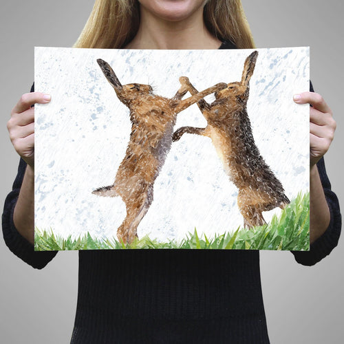 """The Standoff"" Fighting Hares A3 Unframed Art Print"