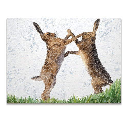 """The Standoff"" Fighting Hares Skinny Canvas Print"