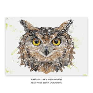 """Brown Owl"" A2 Unframed Art Print - Andy Thomas Artworks"