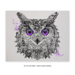 """The Purple Owl"" 10"" x 8"" Unframed Art Print - Andy Thomas Artworks"