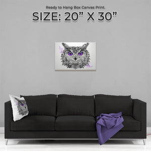 """The Purple Owl"" Medium Canvas Print - Andy Thomas Artworks"
