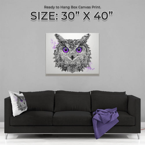 """The Purple Owl"" Large Canvas Print"