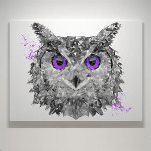 """The Purple Owl"" Small Canvas Print - Andy Thomas Artworks"