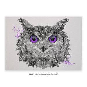 """The Purple Owl"" A3 Unframed Art Print - Andy Thomas Artworks"