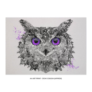"""The Purple Owl"" A4 Unframed Art Print - Andy Thomas Artworks"