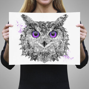 """The Purple Owl"" A2 Unframed Art Print - Andy Thomas Artworks"