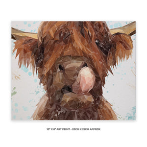 """Harry"" The Highland Cow 10"" x 8"" Unframed Art Print - Andy Thomas Artworks"