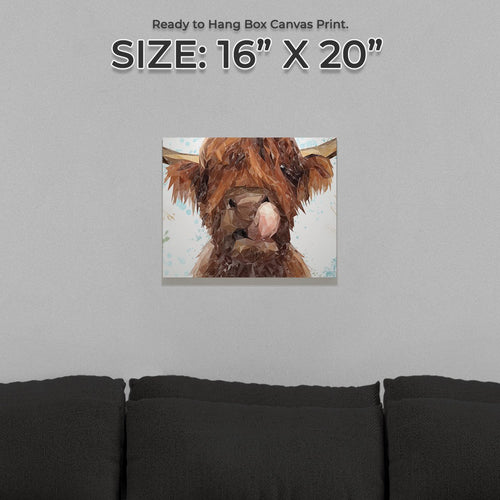 """Harry"" The Highland Cow Small Canvas Print"