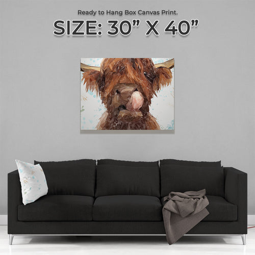 """Harry"" The Highland Cow Large Canvas Print"