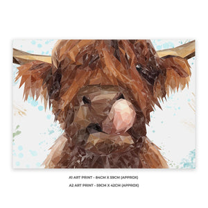 """Harry"" The Highland Cow A1 Unframed Art Print - Andy Thomas Artworks"
