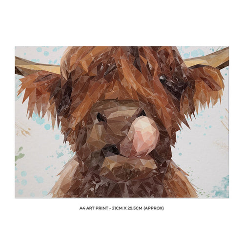 """Harry"" The Highland Cow A4 Unframed Art Print"