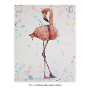 """The Colourful Flamingo"" 10"" x 8"" Unframed Art Print - Andy Thomas Artworks"