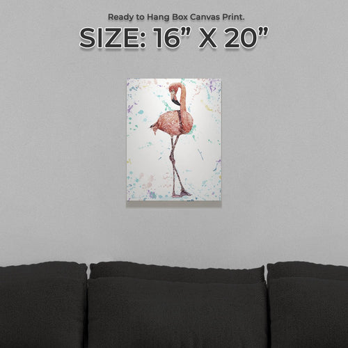 """The Colourful Flamingo"" Small Canvas Print"