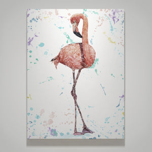 """The Colourful Flamingo"" Small Canvas Print - Andy Thomas Artworks"